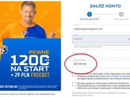STS kod bonusowy - 29 PLN bez depozytu z kodem promocyjnym BETONLINE