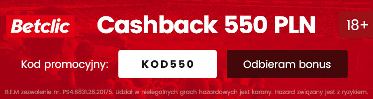 betclic online nowy bonus 550 PLN